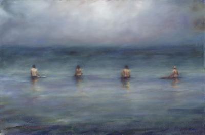 """Carol Ingram, """"Waiting"""" Oil on Canvas"""