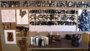 Jamie Newton, Studio wall at Playa, Mixed media