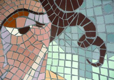"Karen Rycheck, detail - a tiny portion of ""chaise lounge"", mosaic tile"