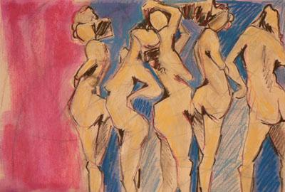 Denise Souza Finney, Women Standing, mixed media drawing