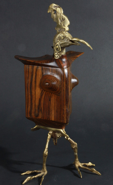 Petaluma Pecker Bronze and wood sculpture by Don Ajello