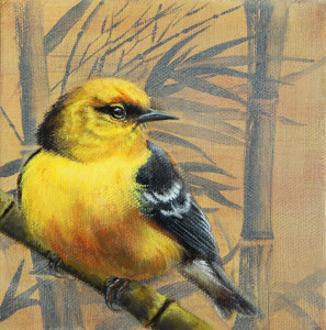 Jenna Quinn Lewis, Blue winged warbler and bamboo