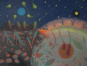 Noriko Sugita, Eclipse, woodcut print