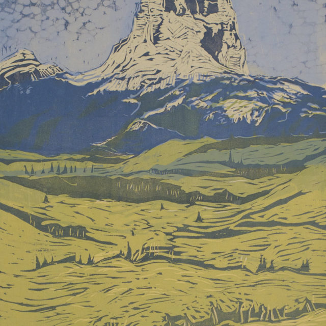 Millie Whipplesmith Plank, Chief Mountain, woodblock print