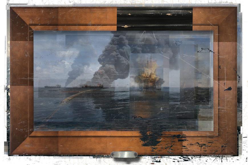 Deborah Oropallo, Video Frame: Pirates, Paris, photomontage on paper