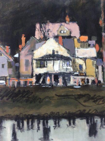 Robert Schlegel, Houses on Water, acrylic on canvas
