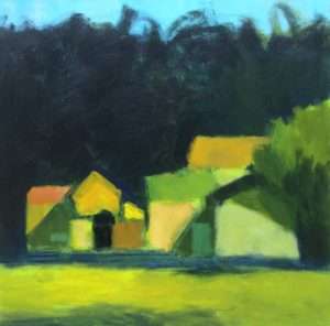 Robert Schlegel, Outbuildings with Green, acrylic on canvas, 30x30