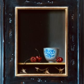 Jhenna Quinn Lewis, Teas & Cherries, oil on linen, 18x15