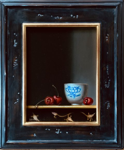Jhenna Quinn Lewis, Teas & Cherries, oil on linen, 18x15