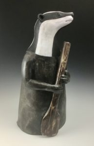 Penelope Dews, River Keeper, the Badger, ceramic