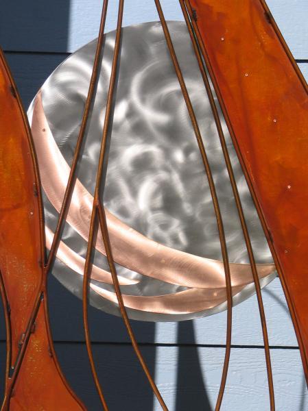 Entrance to the JEGA Gallery. Artist: Cheryl Garcia, Title: Planetary G Spot, Metal Garden Gate