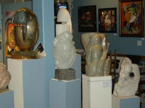 Jega Gallery Sculptures on Exhibit include Stone, Wood, Metal, Ceramic, Multi-Media and Assemblage