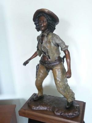 Title Cowgirl Artist Lucious Upshaw Medium Bronze Sculpture