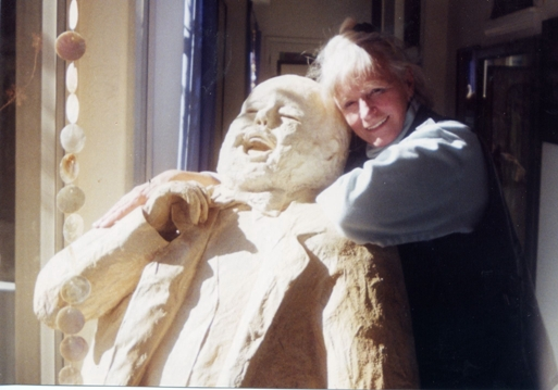 A life size sculpture of Luciano Pavarotti with artist J.Ellen Austin, sculpture mixed media by artist Elyn Nic