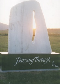 "J. Ellen's  final installment, ""Passing Thru"", Translucent Italian Alabaster, can be visited at Scenic Hills Cemetery, Ashland, Oregon."
