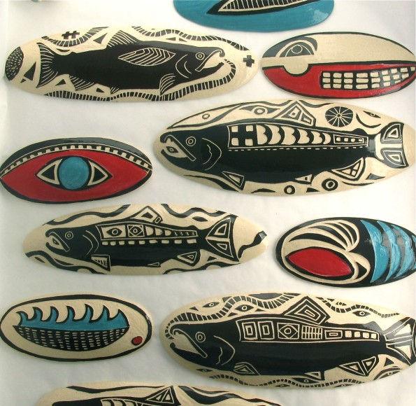 Salmon Pillow Tiles by Julia Janeway