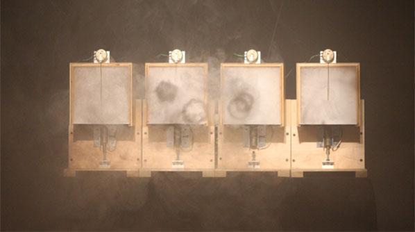 Ali Momeni and Robin Mandel, Smoke and Air, 2008, wood, metal, custom electronics, smoke