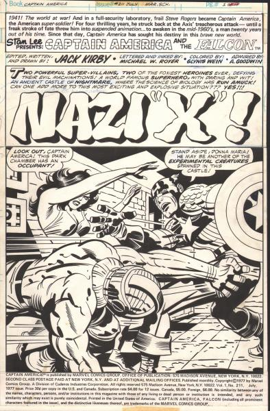 Jack Kirby, Captain America #211, page 1, 1977, Inker: Mike Royer, pen and brush and ink on Bristol board, 15 x 10 in. Courtesy of Aaron Noble and Jenette Goldstein. ™ & © Marvel and Subs.