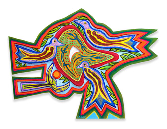 "Betty LaDuke, Africa: After the Rain, 2009, acrylic on wood panel, 46"" x 25"""