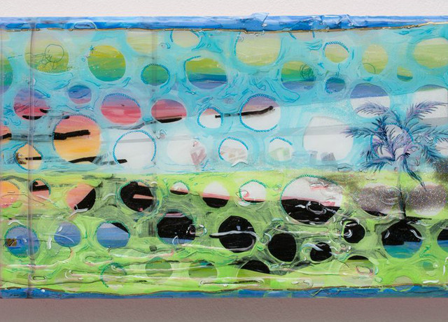 "Sang-ah Choi, About beautiful painting and painting beautifully_ landscape #5, 2015, Acrylic, pen, molding paste, masking tape, glitter, sticker and resin on wood panel, 19.5"" x 8.5"" x ½"""