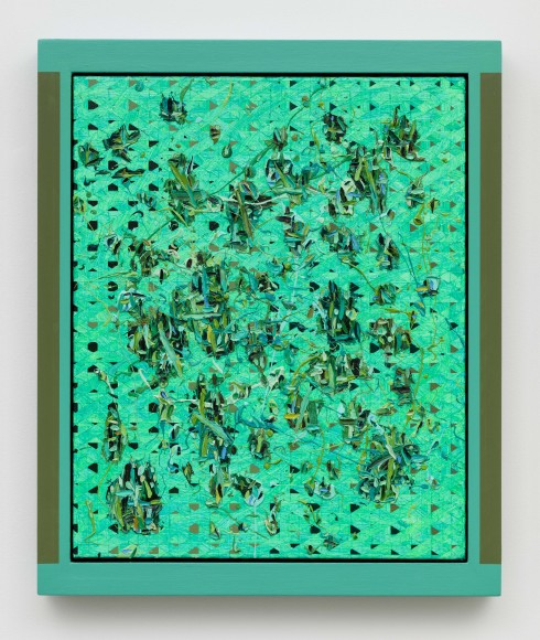 Douglas Melini, Untitled, 2014, Oil and acrylic on canvas with hand painted frame, 25.5 x 21.5 x 1.75 inches.