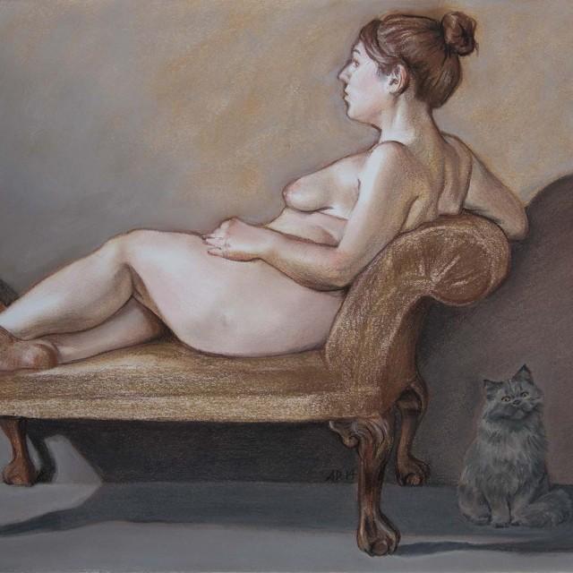 Cat Totem, 2014, pastel